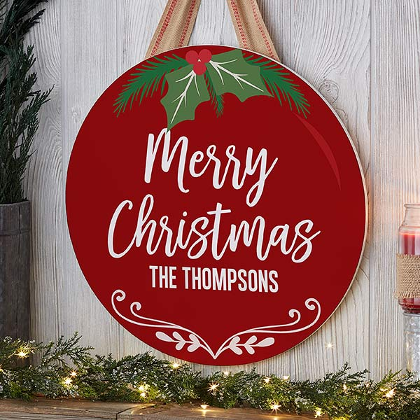 Holiday Ornament Personalized Round Wood Sign - 22078