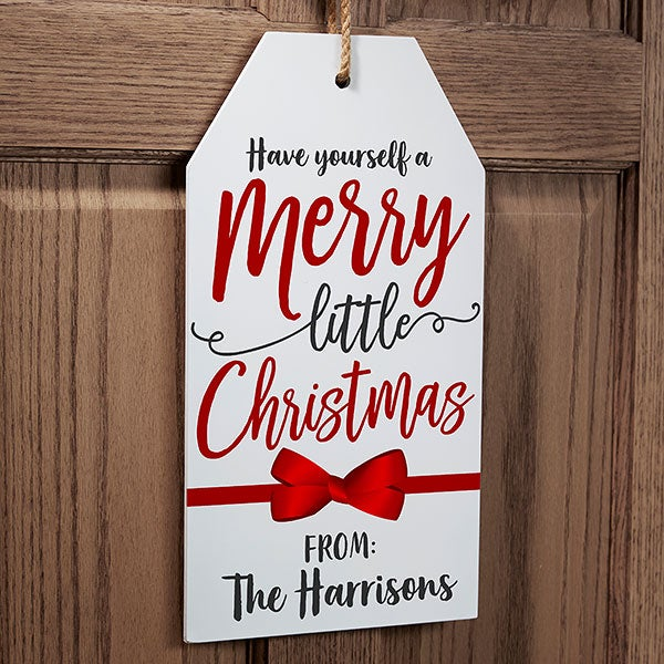 Gift Tag Greetings Personalized Wood Tag - 22085