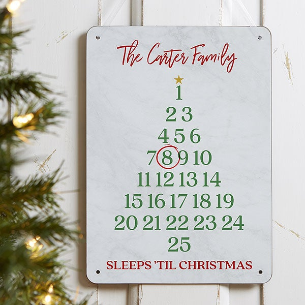Sleeps Until Christmas Personalized Dry Erase Sign - 22087