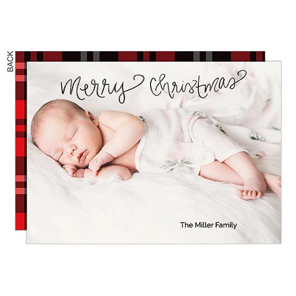 Merry Christmas Calligraphy Holiday Photo Cards - 22090