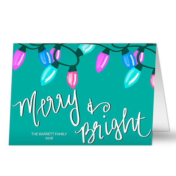 Merry & Bright Personalized Holiday Cards - 22091