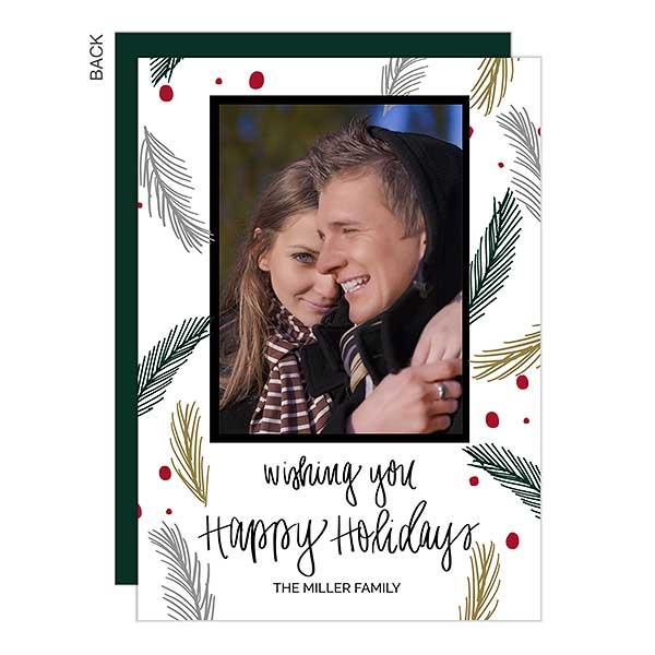 Happy Holidays Pine Photo Holiday Cards - 22095