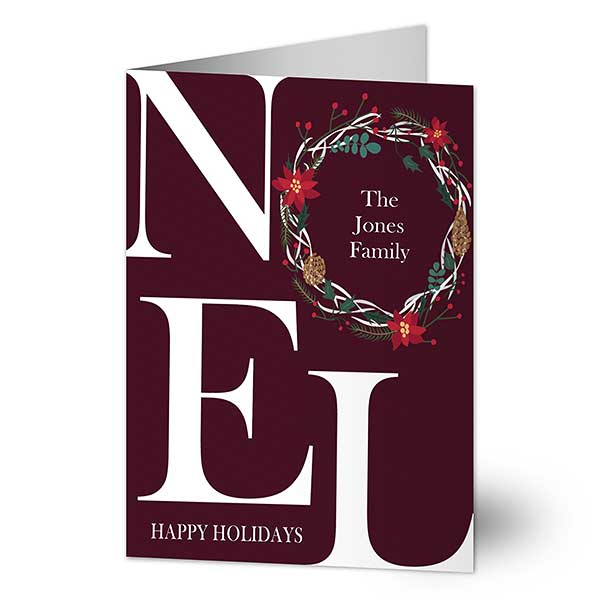 Noel Wreath Personalized Holiday Cards - 22108