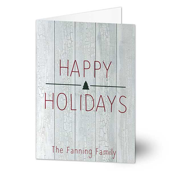 Rustic Wood Personalized Holiday Cards - 22109