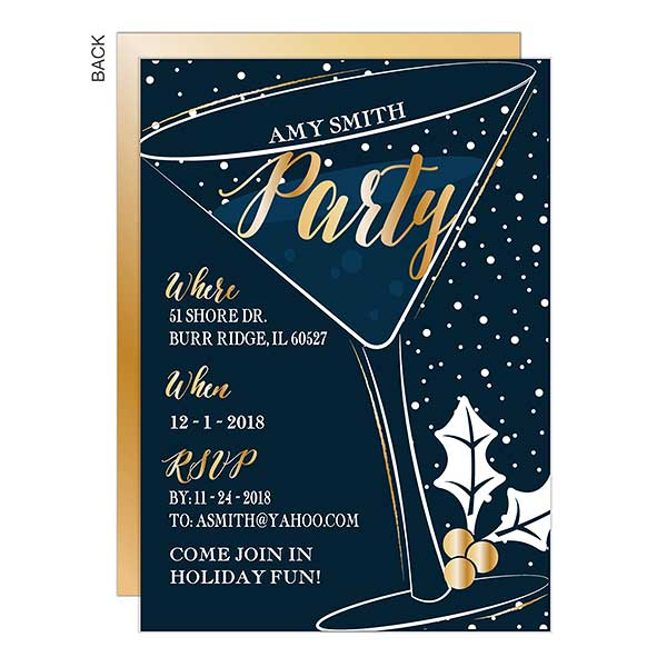 Holiday Party Glass Personalized Party Invitations - 22117