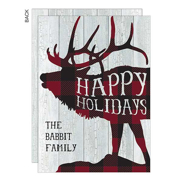 Buffalo Check Elk Personalized Holiday Cards - 22130