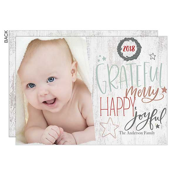 Grateful, Merry Photo Holiday Cards - 22141