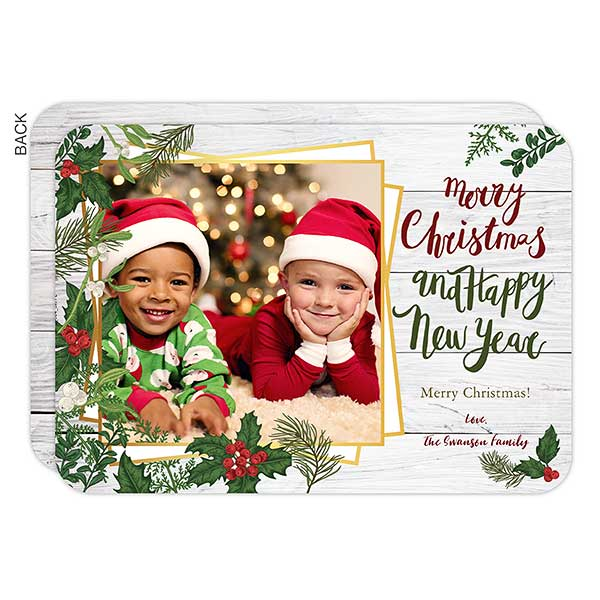 Merry Christmas Botanical Photo Holiday Cards - 22146