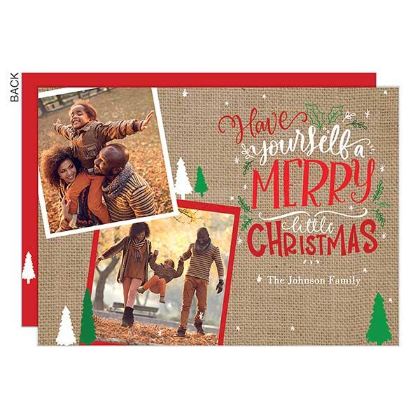 Christmas Burlap Photo Holiday Cards - 22151