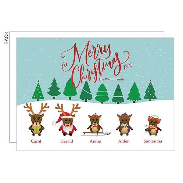 Merry Christmas Reindeer Personalized Holiday Cards - 22155