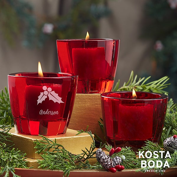 Holiday Icons Kosta Boda Bruk Personalized Red Votive Set - 22174
