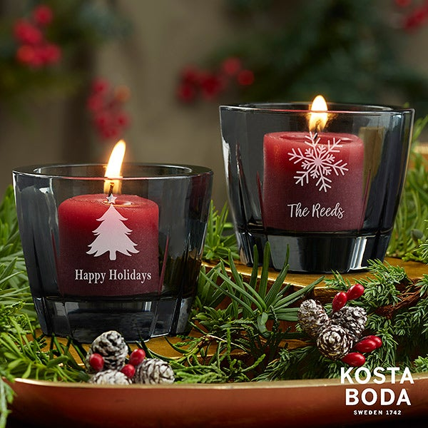 Holiday Icons Kosta Boda Bruk Personalized Grey Votive - 22176
