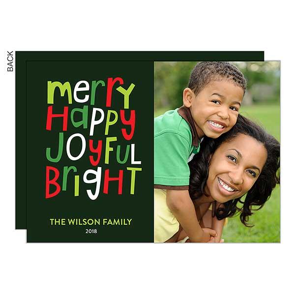 Merry Happy Joyful Bright Photo Holiday Cards - 22182
