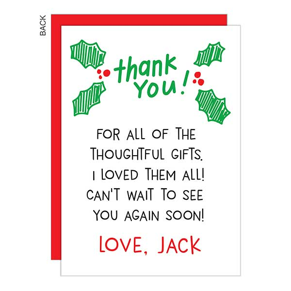Handwritten Personalized Holiday Thank You Cards - 22185