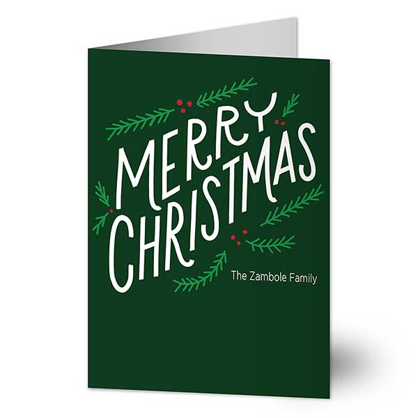 Merry Christmas Personalized Greeting Cards - 22186