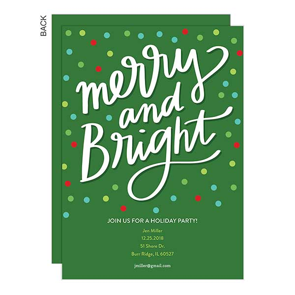 Merry Bright Personalized Holiday Party Invitations