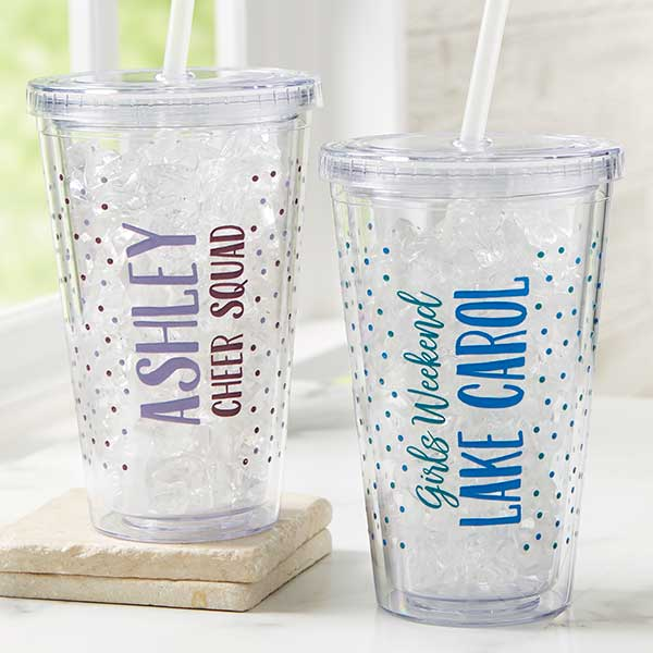 Personalized Acrylic Insulated Tumblers With Lid & Straw - 22217