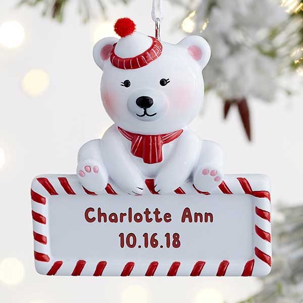 Baby Polar Bear Personalized Ornament - 22220