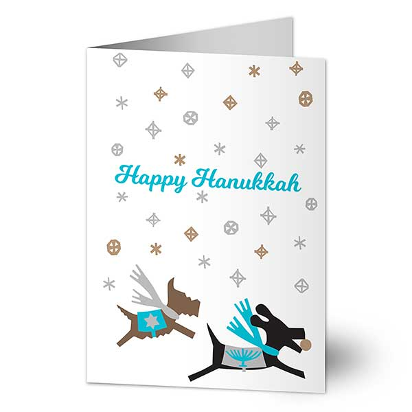 Happy Hanukkah Dogs Personalized Holiday Cards - 22253
