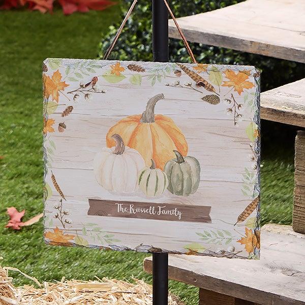 Autumn Pumpkins Light Wash Personalized Slate Plaque - 22270