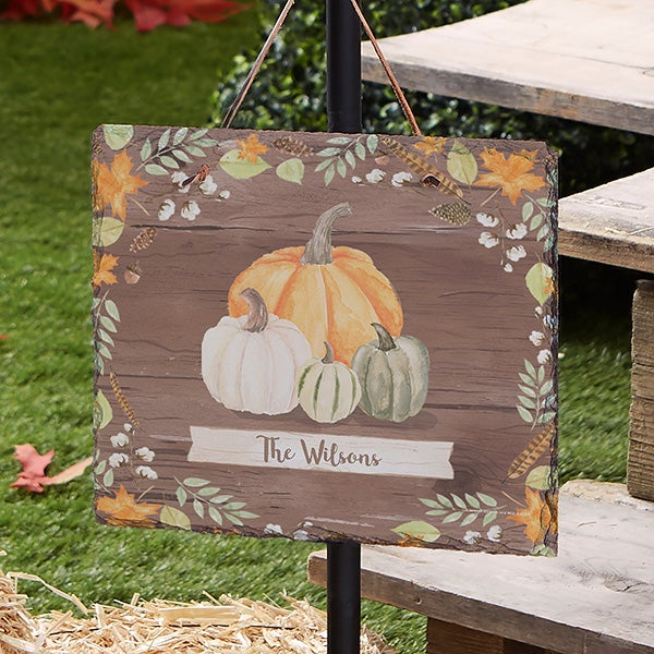 Autumn Pumpkins Dark Wash Personalized Slate Plaque - 22271