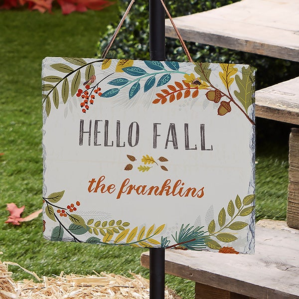 Hello Fall Floral Personalized Slate Plaque - 22272
