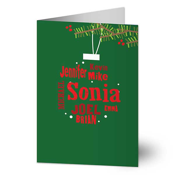 Ornament Names Personalized Holiday Cards - 22281
