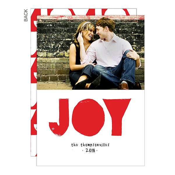 Modern Joy Hand Lettered Photo Holiday Cards - 22290