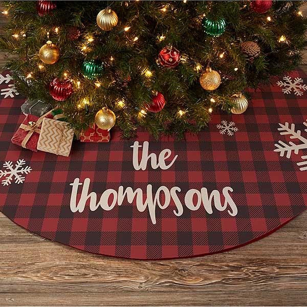 Buffalo Check Christmas Decor.Cozy Cabin Personalized Buffalo Check Christmas Tree Skirt