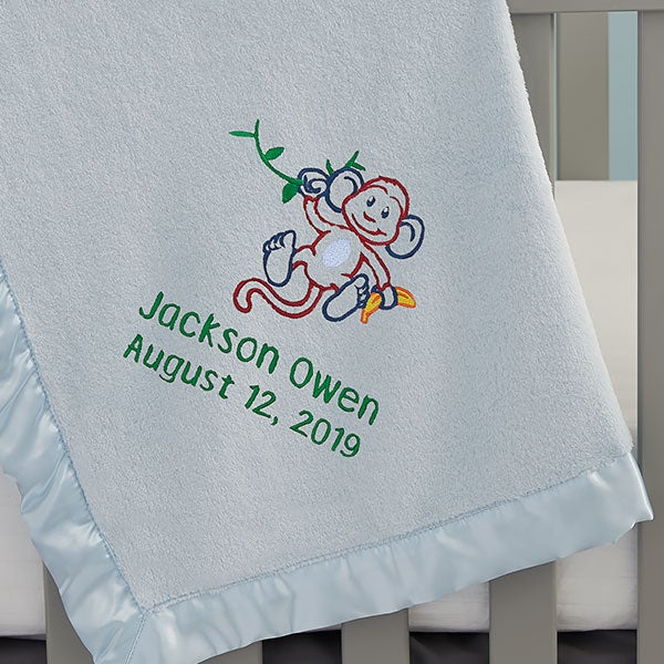 Embroidered Name Monkey Baby Blanket  - 22317