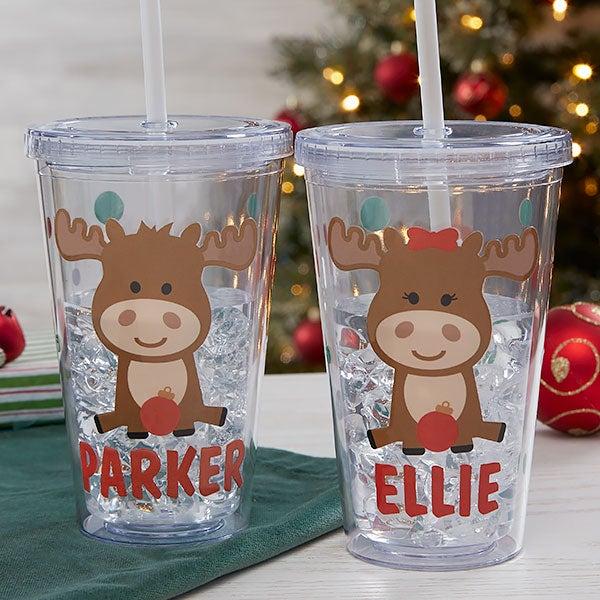 Christmas Moose Personalized Insulated Acrylic Tumbler - 22323