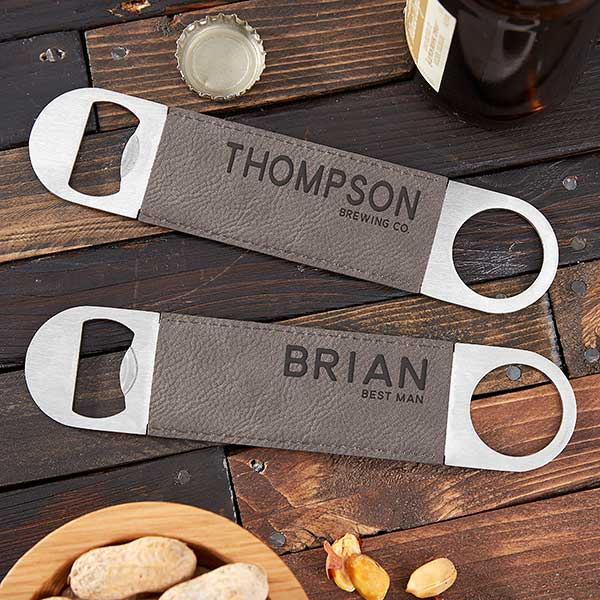 Bold Style Personalized Leather Bottle Opener - 22388