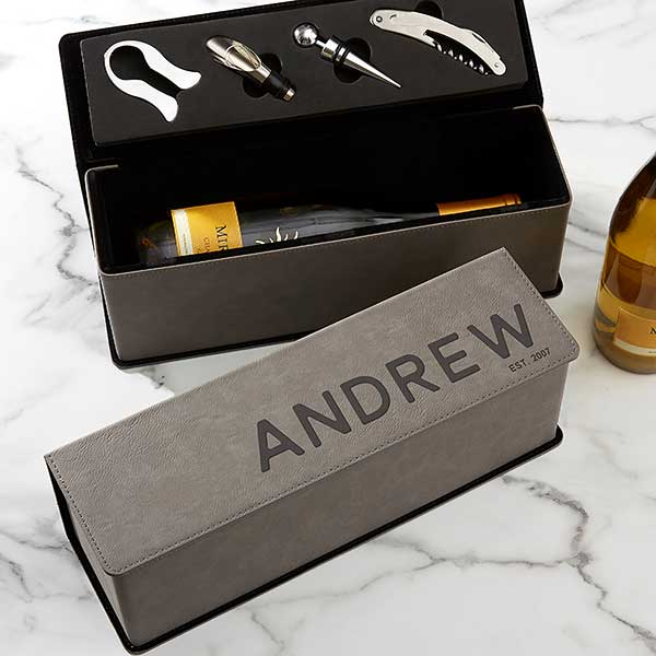 Bold Style Personalized Wine Bottle Accessory Box - 22389