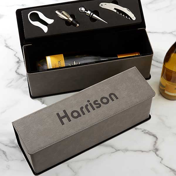 Name & Monogram Wine Bottle & Accessory Box - 22390