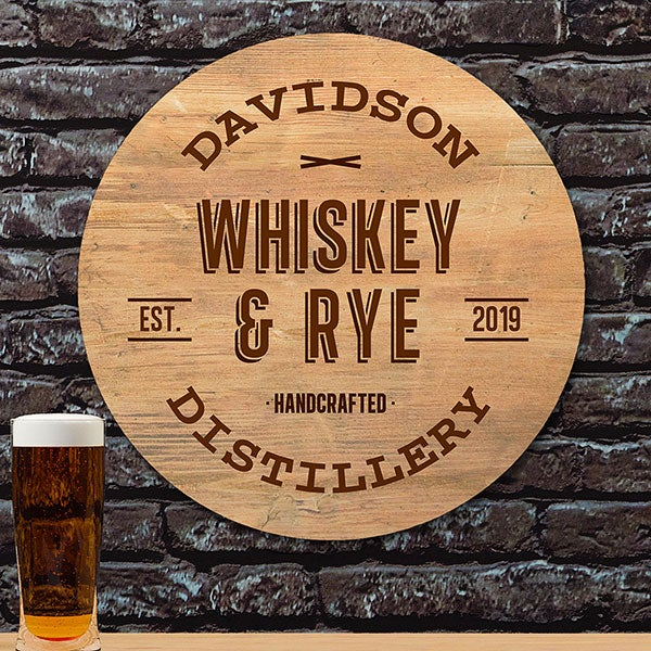 Vintage Distillery Personalized Round Wood Sign - 22391