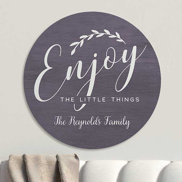 Enjoy The Little Things Personalized Round Wood Sign - 22398