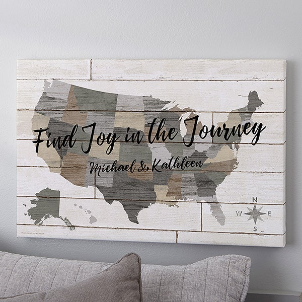Barnboard Map Personalized Canvas Prints - 22401