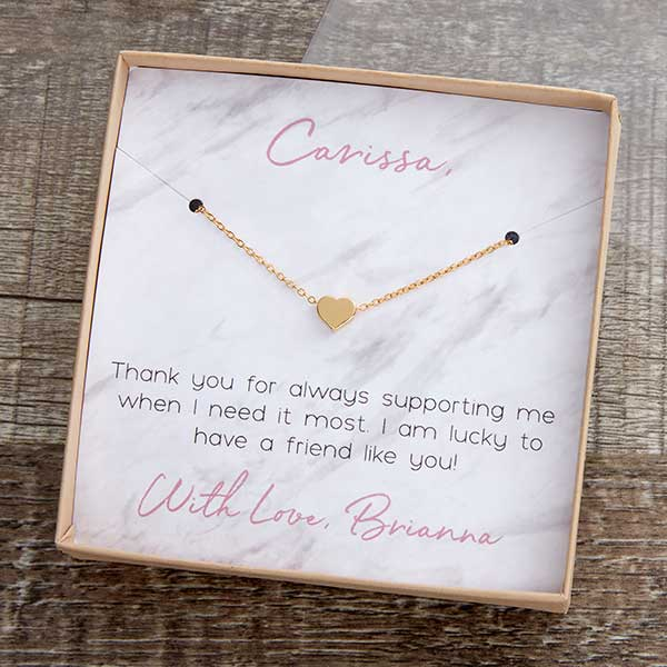 Necklace With Personalized Marble Message Display Card - 22426