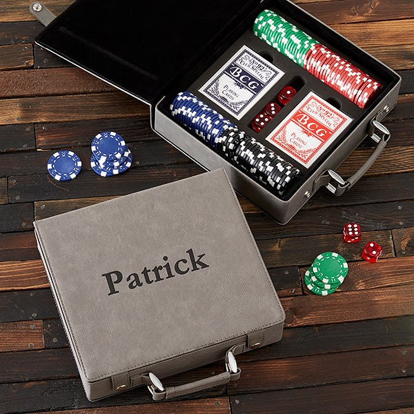 Personalized Grey Leatherette Poker Chip Set - 22429