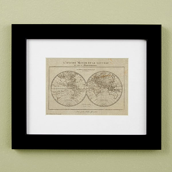 Vintage Map Of The World Personalized Framed Prints - 22439
