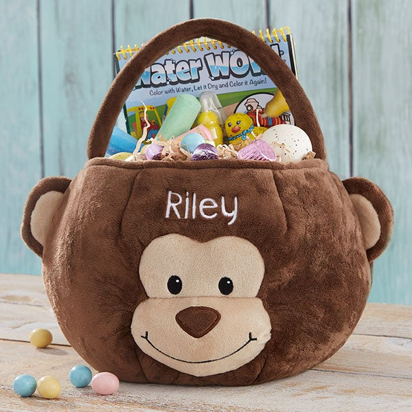Monkey Embroidered Plush Easter Basket - 22542