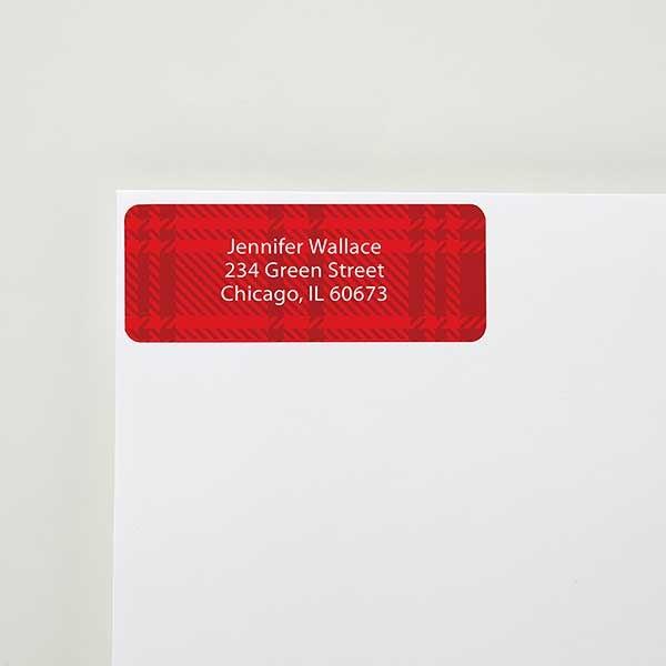 red plaid return address labels
