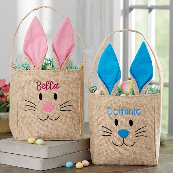 Bunny Face Personalized Blue Burlap Easter Treat Bag