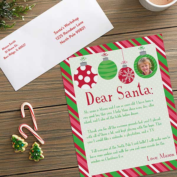 Ornaments Personalized Photo Letter To Santa - 22596