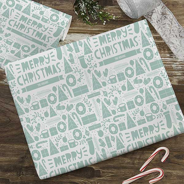 Merry Christmas Pattern Personalized Holiday Wrapping Paper - 22599