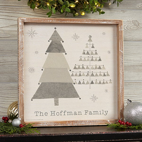 Frosty Neutrals Christmas Personalized Barnwood Wall Art - 22601