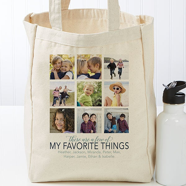 My Favorite Things Personalized Photo Canvas Tote Bags - 22606