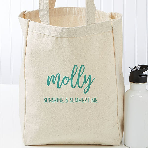 Scripty Style Personalized Canvas Beach Bags - 22629