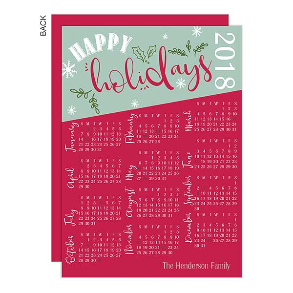 Personalized Holiday Calendar Cards - 22654