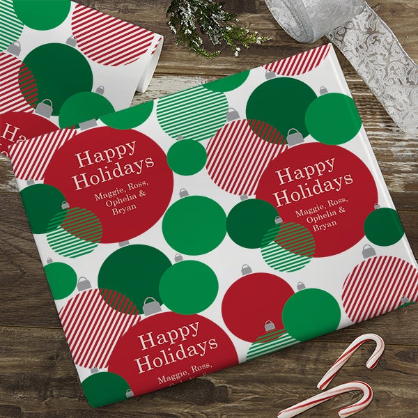 Ornaments Personalized Holiday Wrapping Paper - 22671